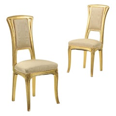 Art Nouveau Period Pair of Giltwood Antique Side Chairs, circa 1900