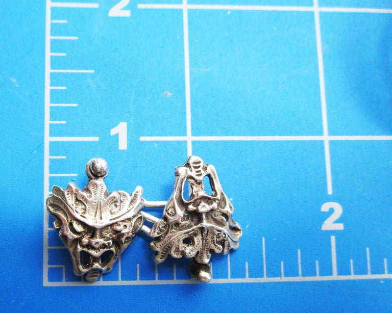 Art Nouveau Peruzzi Bacchus Mask Sterling Silver Cufflinks In Good Condition For Sale In Lexington, KY