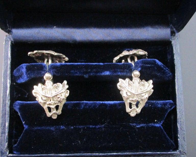 Art Nouveau Peruzzi Bacchus Mask Sterling Silver Cufflinks For Sale 3