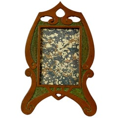 Period Art Nouveau Patinated and Enameled  Photo/Picture Frame
