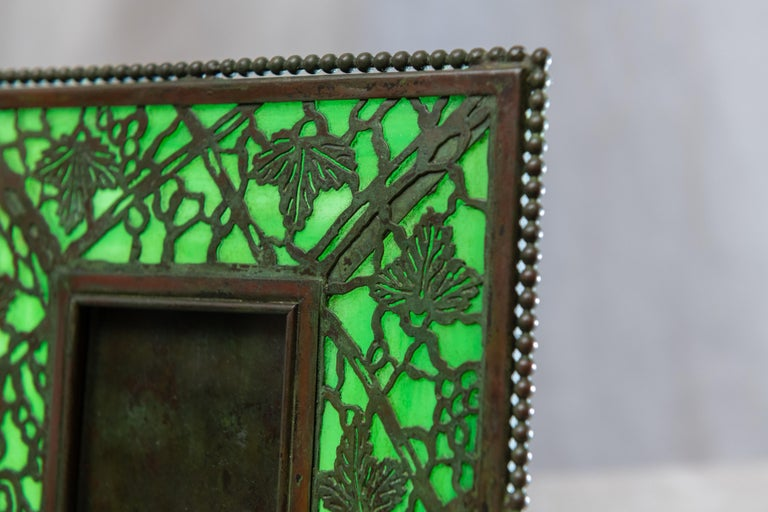 Hand-Crafted Art Nouveau Picture Frame, Signed Tiffany Studios, Grapevine Pattern, circa 1910 For Sale