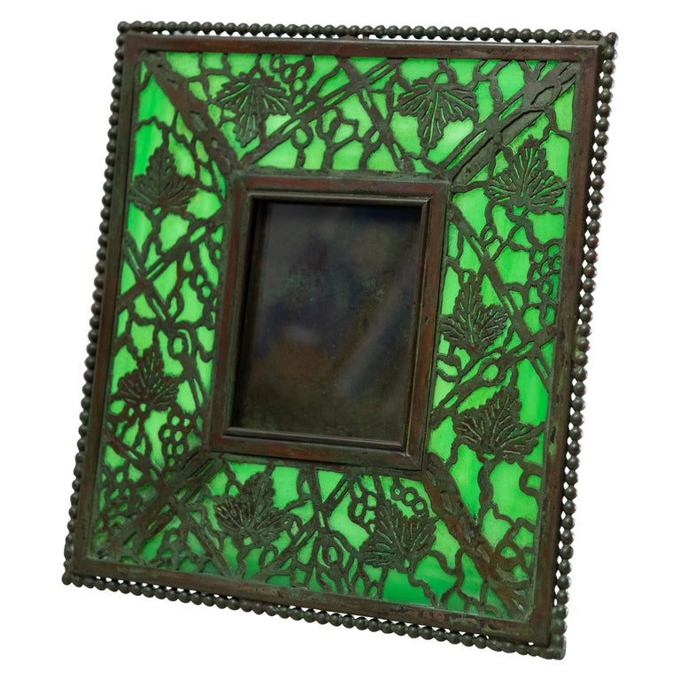 Art Nouveau Picture Frame, Signed Tiffany Studios, Grapevine Pattern, circa 1910 For Sale