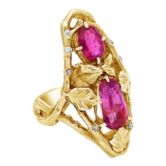 Art Nouveau Pink Sapphire Ring & Gold Foliate Design Ring by Paul Emile Brandt