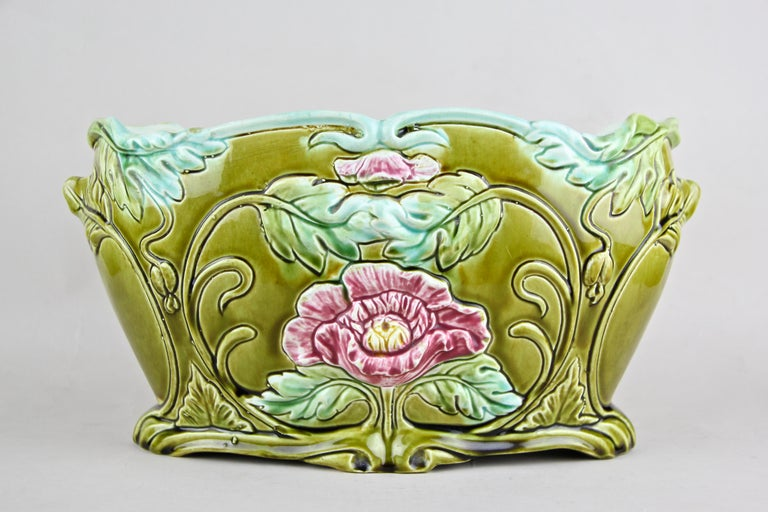 Hand-Painted Art Nouveau Planter or Jardinière Floral, France, circa 1910 For Sale