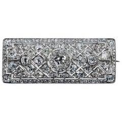 Art Nouveau Platinum Brooch with White Diamonds