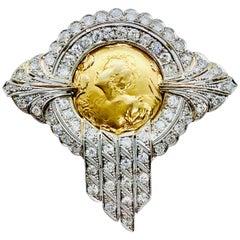 Art Nouveau Platinum Diamond and 18 Karat Yellow Gold Brooch with Ladies Profile