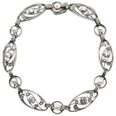 Art Nouveau Platinum Diamond Pearl Convertible Bracelet or Necklace, Paris, 1915