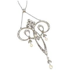 Art Nouveau Platinum Gold and Diamond Large Pendant Necklace