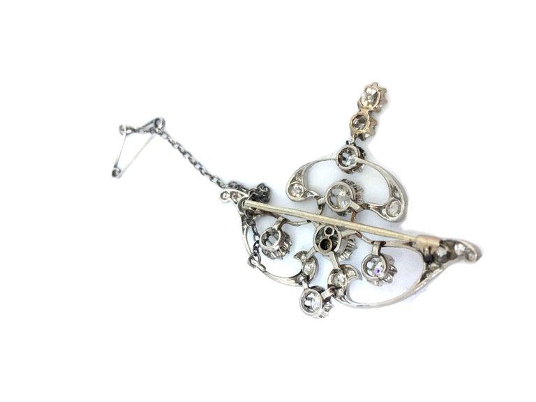 Old European Cut Art Nouveau Platinum White Diamond Pendant Brooch For Sale