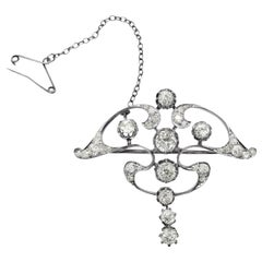 Art Nouveau Platinum White Diamond Pendant Brooch