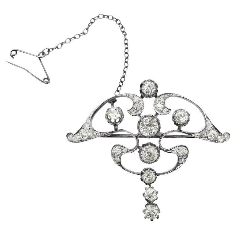 Art Nouveau Platinum White Diamond Pendant Brooch For Sale