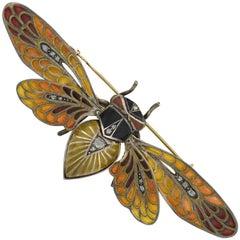 Art Nouveau Plique-à-Jour and Diamond Moveable Winged Insect Pin