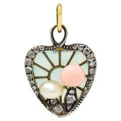 Art Nouveau Plique-A-Jour Diamond Pearl 14 Karat Gold Mushroom Heart Pendant