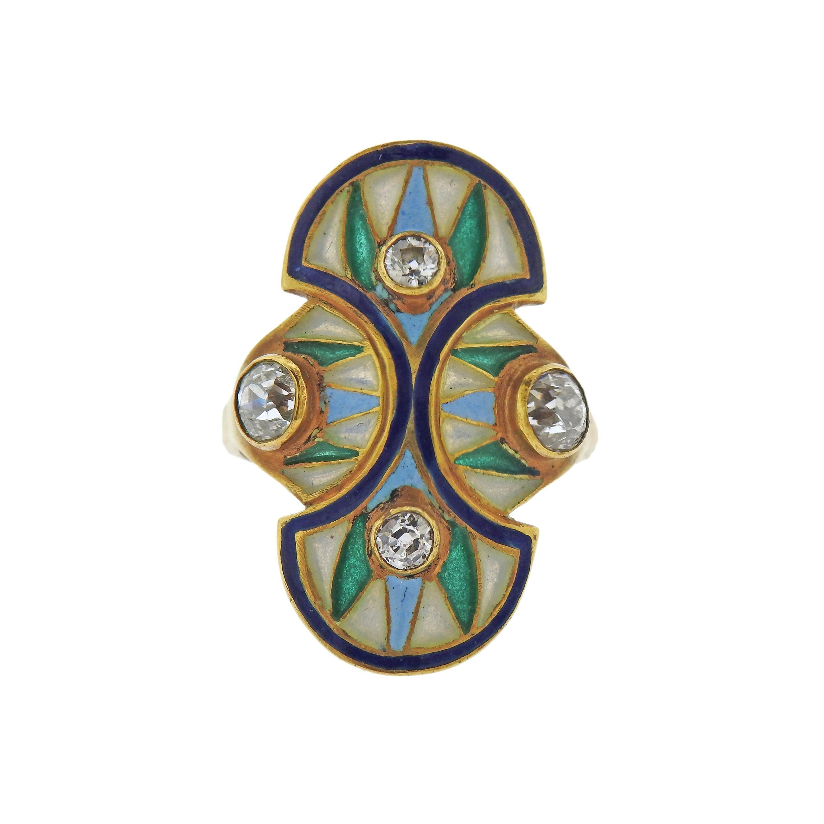 Art Nouveau Plique A Jour Enamel Diamond Gold Ring