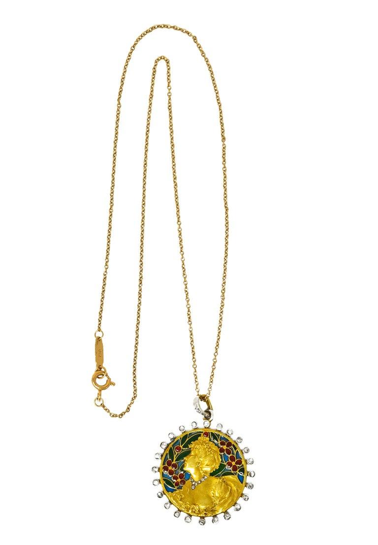 Art Nouveau Plique-à-jour Enamel Diamond Platinum 18 Karat Gold Portrait Pendant For Sale 5