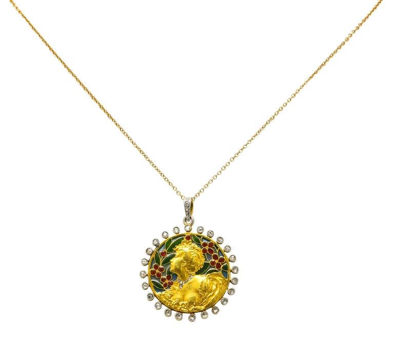 Rose Cut Art Nouveau Plique-à-jour Enamel Diamond Platinum 18 Karat Gold Portrait Pendant For Sale