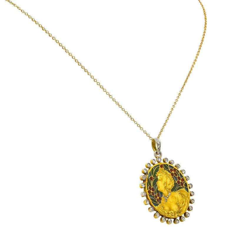 Women's or Men's Art Nouveau Plique-à-jour Enamel Diamond Platinum 18 Karat Gold Portrait Pendant For Sale