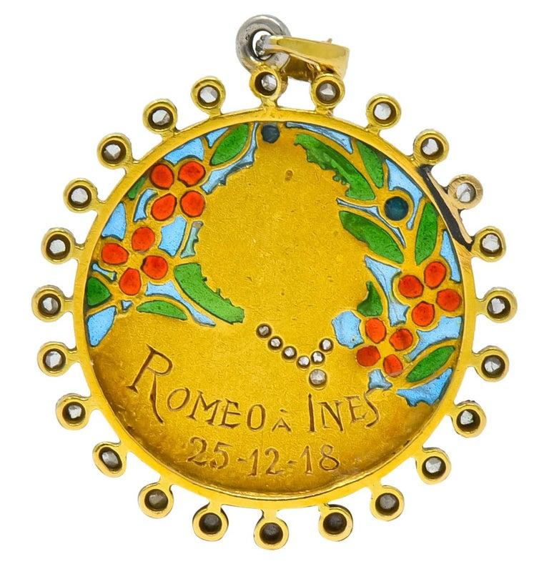 Art Nouveau Plique-à-jour Enamel Diamond Platinum 18 Karat Gold Portrait Pendant For Sale 4