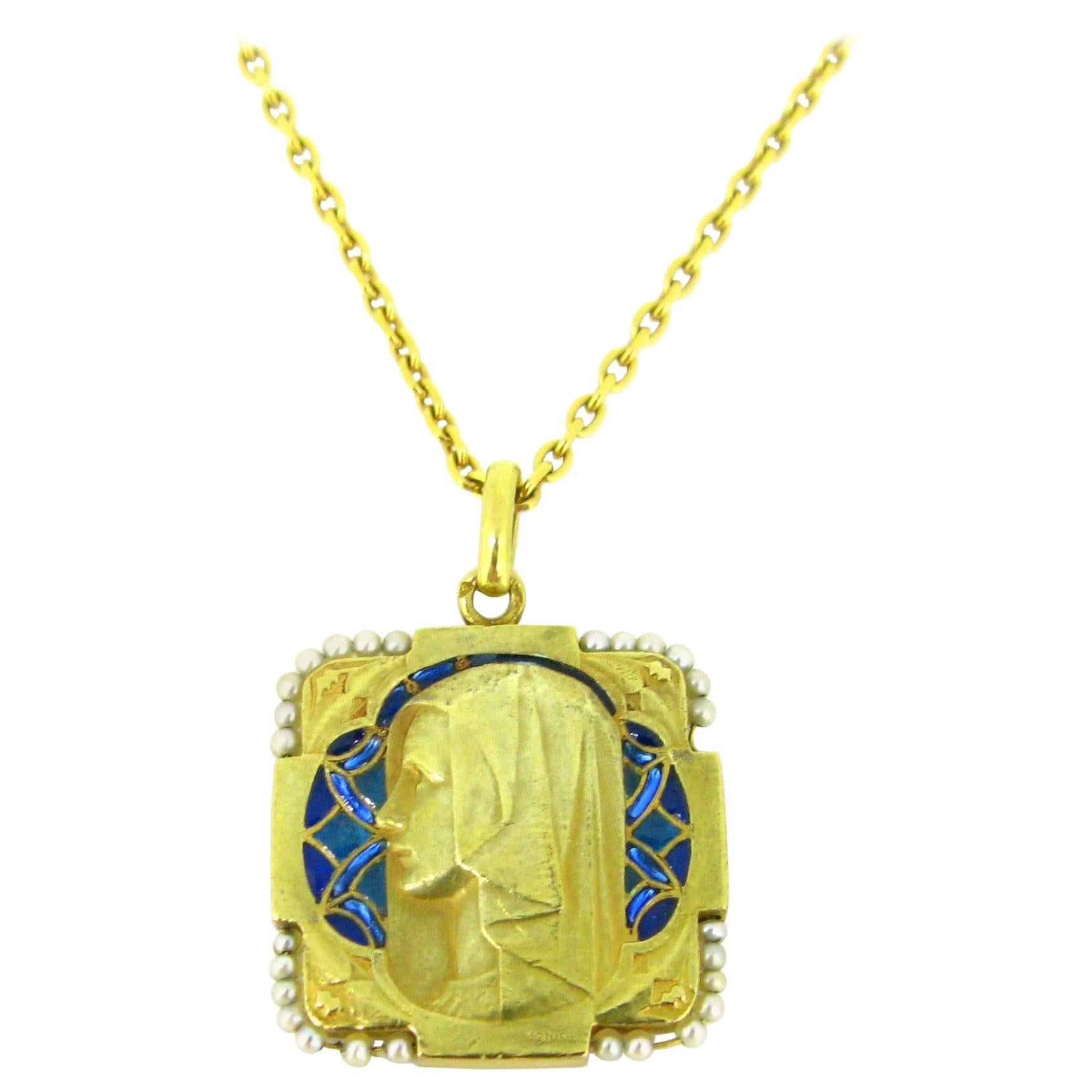 Art Nouveau Plique a Jour Enamel Pearl Yellow Gold Medal Pendant