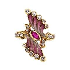 Art Nouveau Plique a Jour Enamel Ruby and Diamond Ring, ca. 1900s