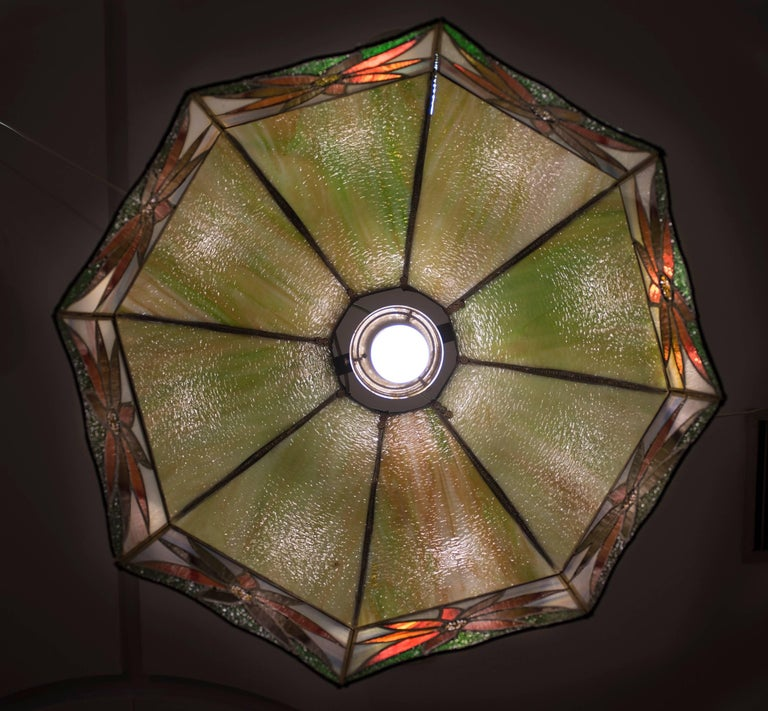 Hand-Crafted Art Nouveau Polychromed Leaded Glass French Lamp For Sale