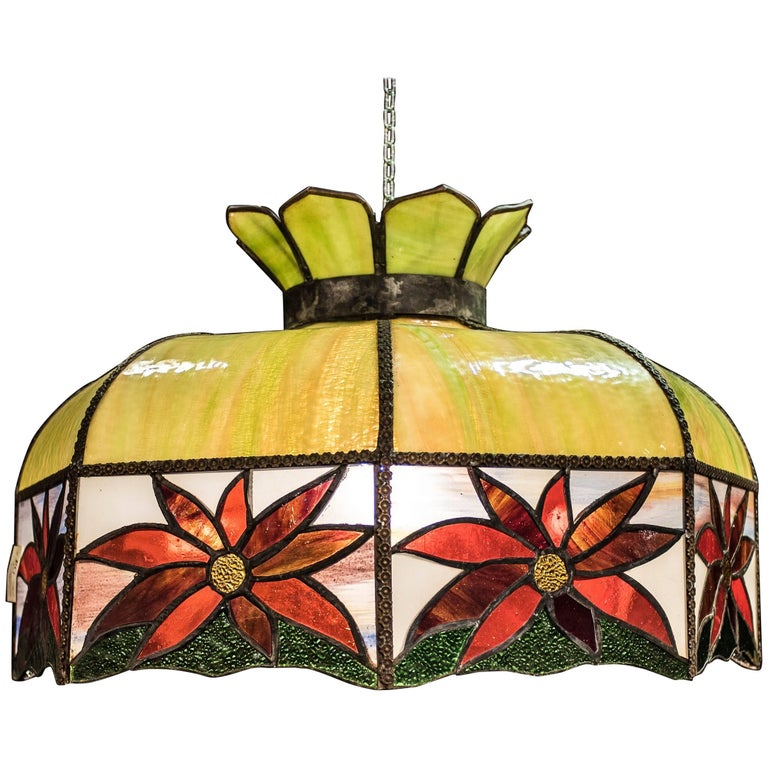 Art Nouveau Polychromed Leaded Glass French Lamp For Sale