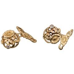 Art Nouveau Poppy Flower Diamond Gold Cufflinks