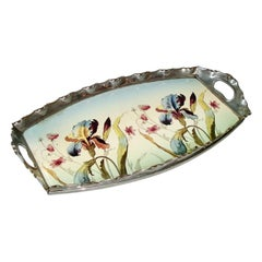 Art Nouveau Porcelain and Pewter Tray by Max Dannhorn, Villeroy & Boch