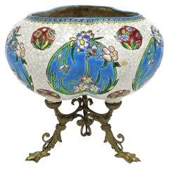 Art Nouveau Porcelain & Brass Vase in Longwy Style