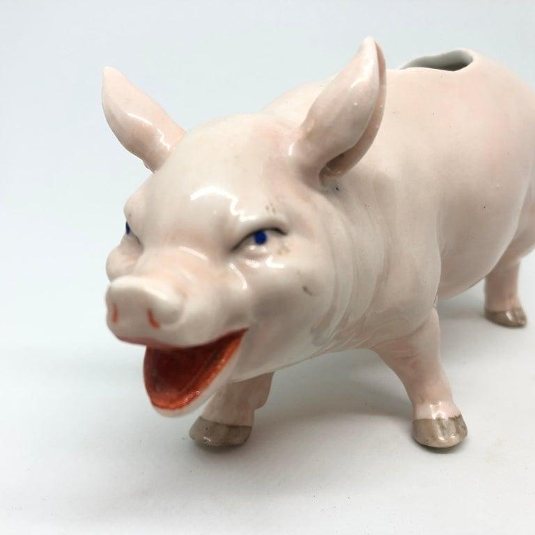 Hand-Crafted Art Nouveau Porcelain Pink Pig Figural Catchall Antique, German, 1910s For Sale
