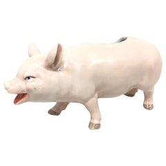 Art Nouveau Porcelain Pink Pig Figural Catchall Antique, German, 1910s