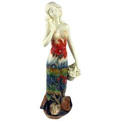 Art Nouveau Porcelain Statue of a Woman, Signed Decors du Galion