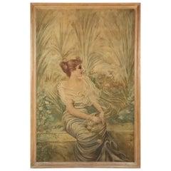 Art Nouveau Portrait Painting, circa 1900
