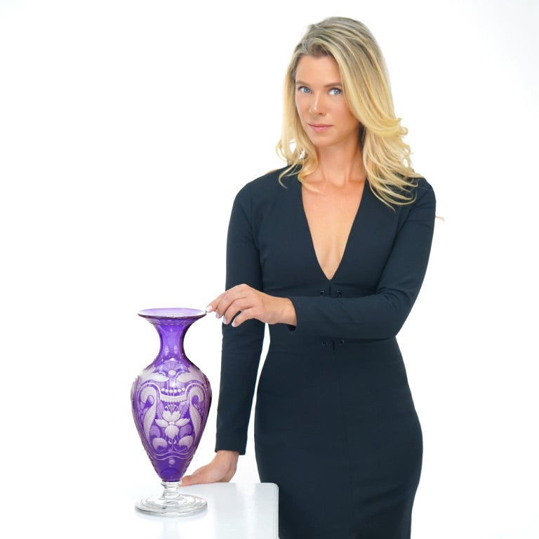 """Libbey Glass Company, Cambridge, Massachusetts, circa 1900. This stunning Art Nouveau Vase features an intricately cut design on gorgeous purple glass. The look is antique meets au courant. Excellent condition.   Remark: """"If color is a signature"""
