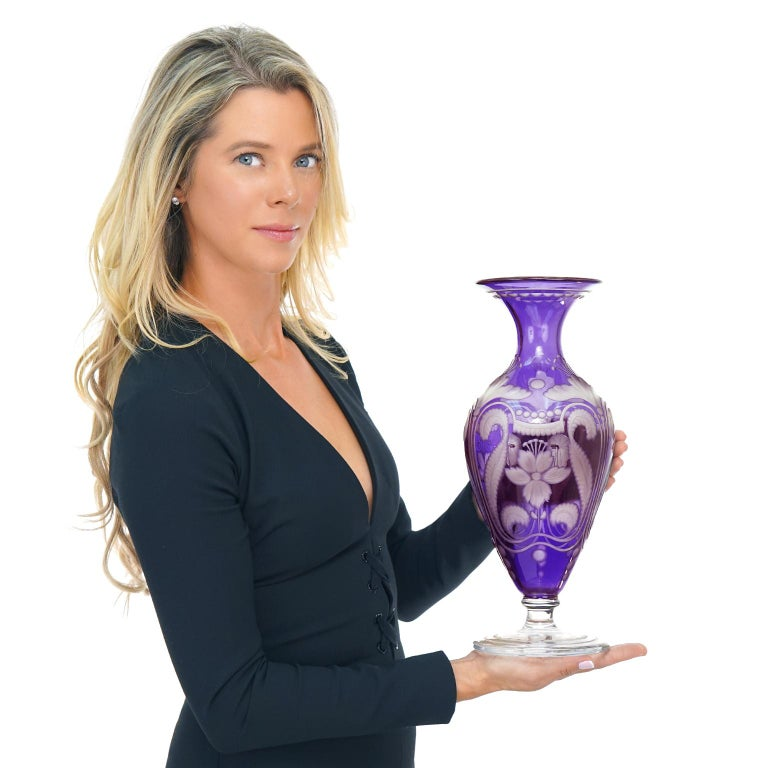 Art Nouveau Purple Vase by Libby In Excellent Condition For Sale In Litchfield, CT