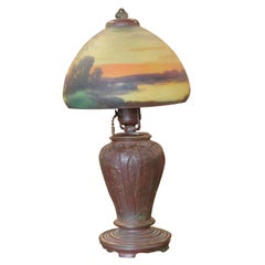Art Nouveau Reverse Hand Painted Handel Table Lamp 7/59