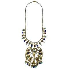 Art Nouveau Revival 1960s / 70s Jeweled Pendant Necklace