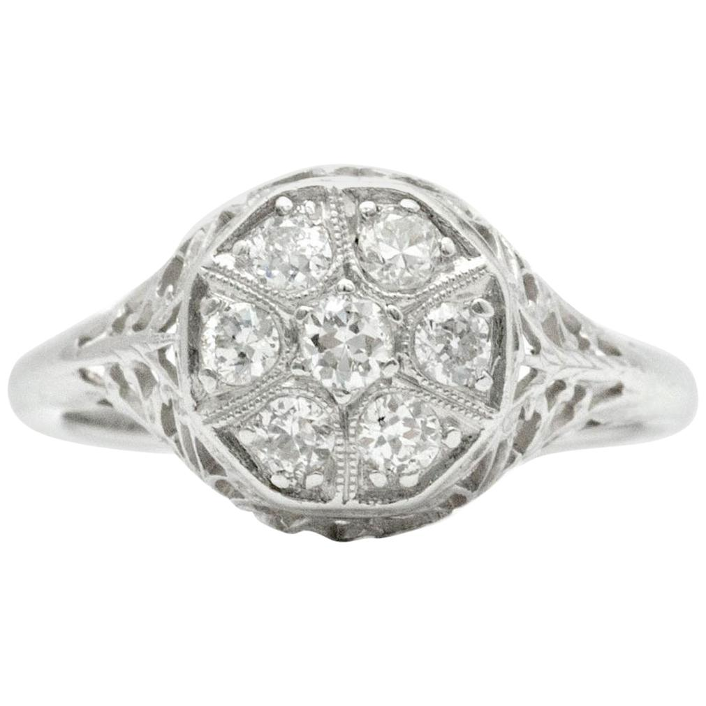 Art Nouveau Revival Old Mine Diamond Cluster 14 Karat White Gold Engagement Ring