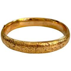Art Nouveau Riker Brothers 14 Karat Yellow Gold Hinged Bangle