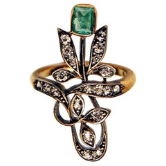 Art Nouveau Ring Gold 585 Diamonds Emerald Vienna Austria, circa 1900