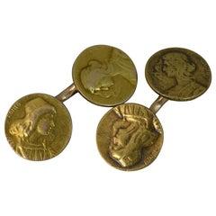 Art Nouveau Romeo & Juliet 14 Carat Yellow Gold Pair of Cufflinks