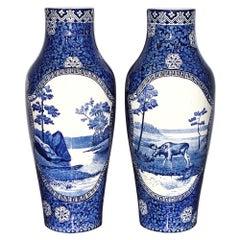 Art Nouveau Rörstrand Pair of Porcelain Vases, Sweden, 19th Century