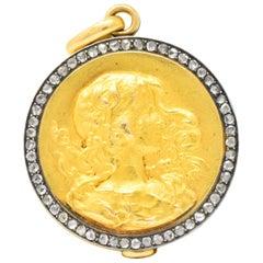 Art Nouveau Rose-Cut Diamond 18 Karat Gold Silver Locket Pendant