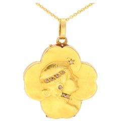 Art Nouveau Rose Cut Diamond Four Leaf Clover Locket in 18k Yellow Gold