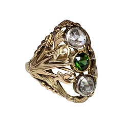 Art Nouveau Rose Cut Diamond Green Tourmaline Ring Antique 14 Karat Gold