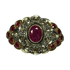 Art Nouveau Rose Cut Diamonds Ruby 14 Karat Yellow Gold Ring