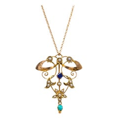 Art Nouveau Rose Gold Pendant Necklace Sapphire Pearl and Turquoise, circa 1900