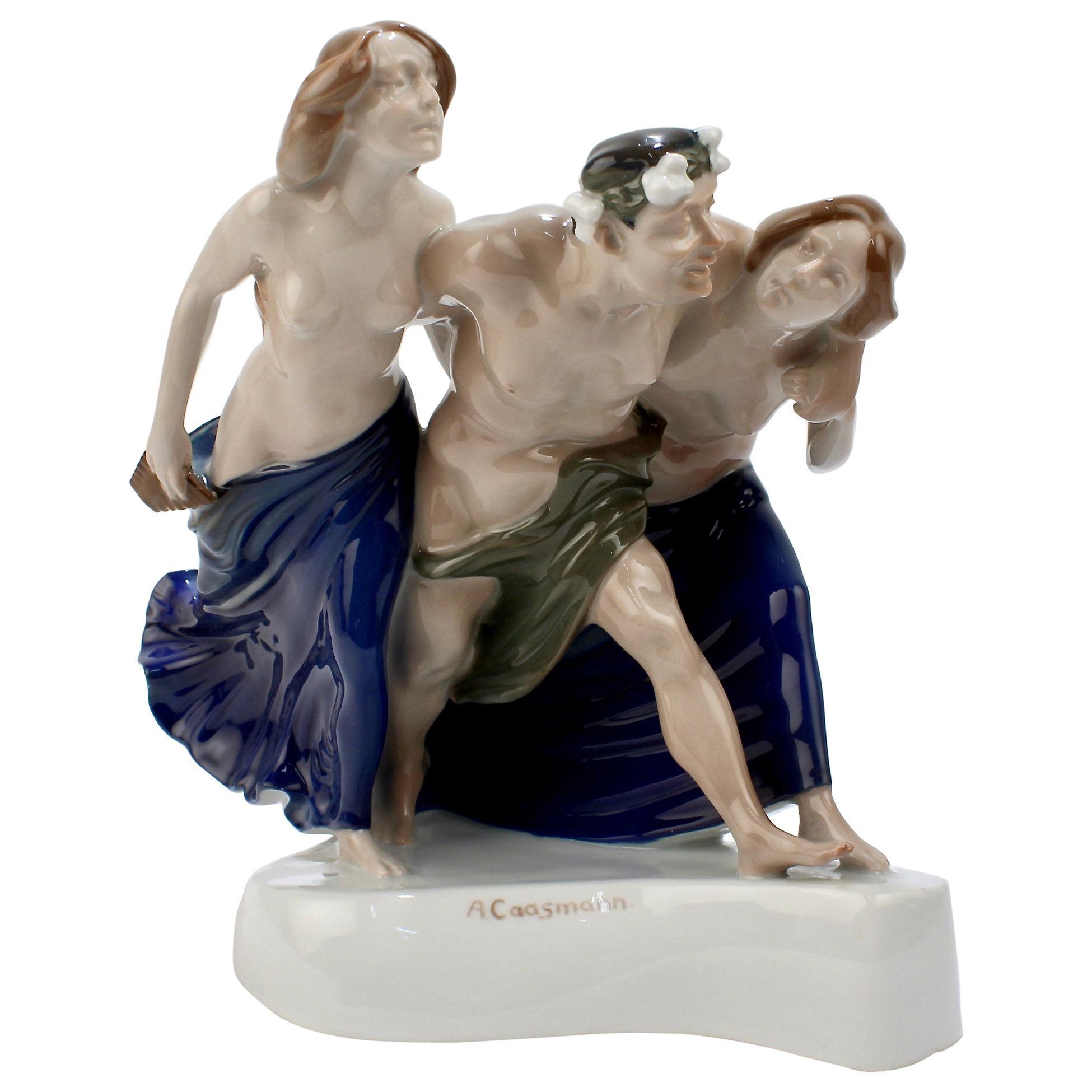 Art Nouveau Rosenthal Porcelain Figurine of Storming Bacchantes by A. Cassmann