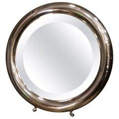 Art Nouveau Round Mirror Silver English Dressing Table Mirror, Legs, 1930-1940s