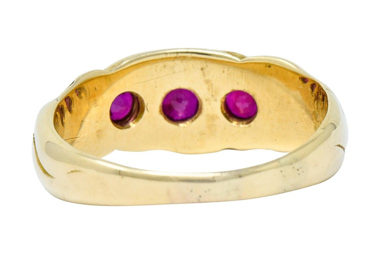 Art Nouveau Ruby 14 Karat Gold Three-Stone Band Ring In Excellent Condition For Sale In Philadelphia, PA